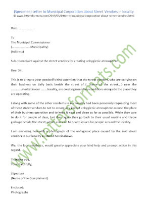 write a letter to the municipal corporation complaining about the street vendors in your locality