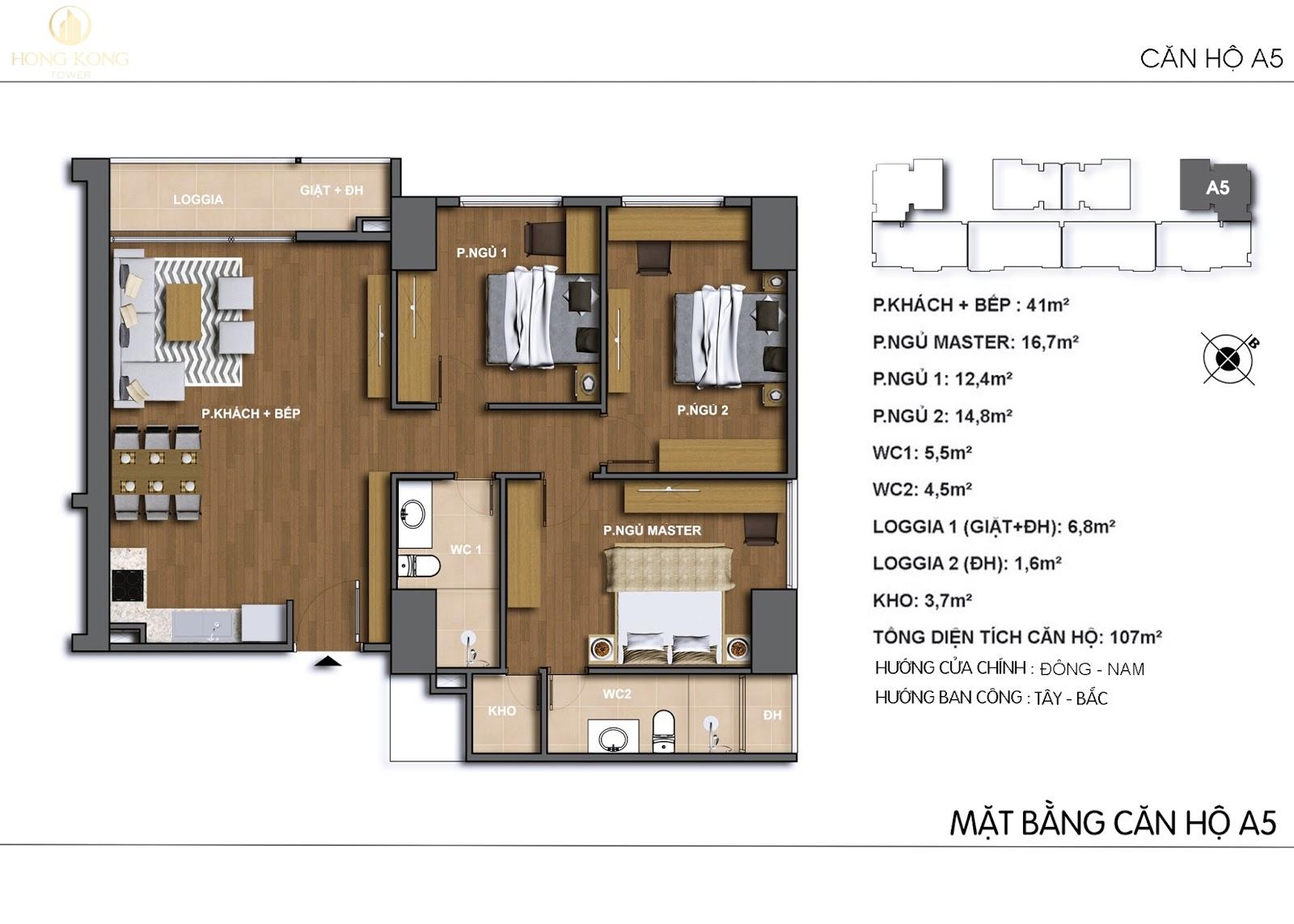 Chi tiết căn hộ A5 dự án 243A Đê La Thành