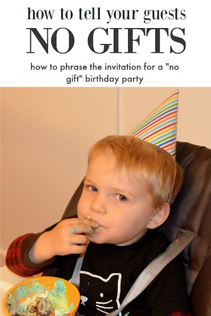 how to phrase no gift birthday party invitations
