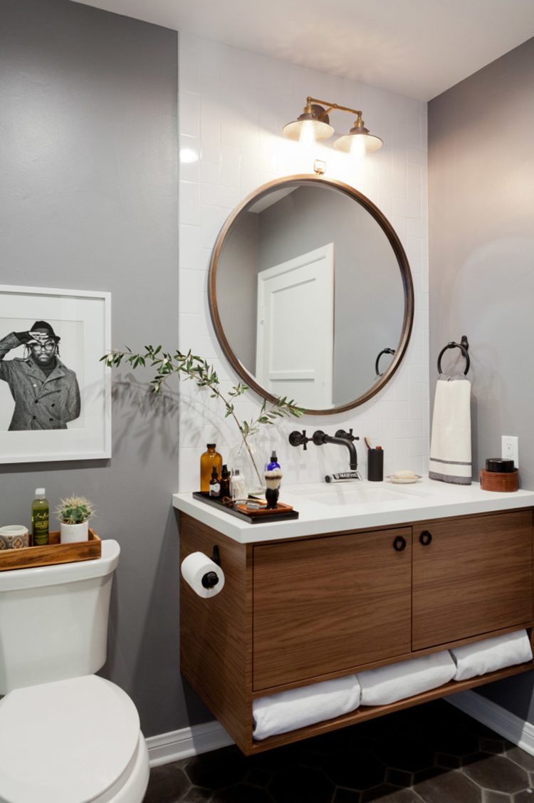 West elm bathroom accessories - Picks Hygge West Stone S Throw Away Wallpaper West Elm Metal Framed Round Wall Mirror Anthropologie Diamanta Striped Towel Also Love This One