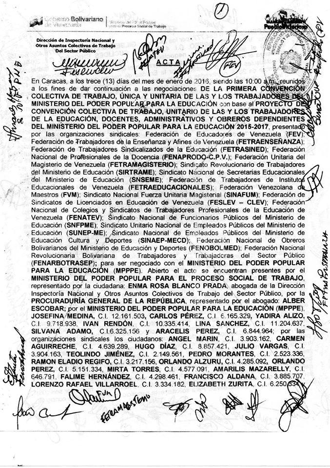 ACTA DE 13 DE ENERO DE 2016...Colega es importante que estés pendiente de las actas que se elaboren el mismo dia