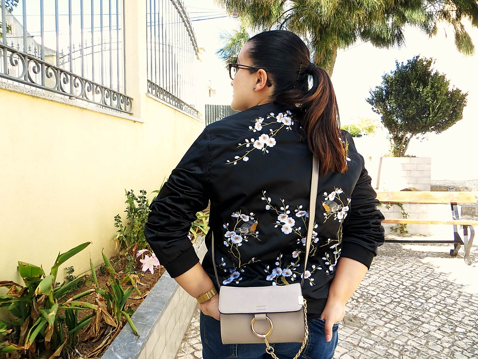 Review Ootd Embroidery Bomber Jacket Gray Crossbody Bag