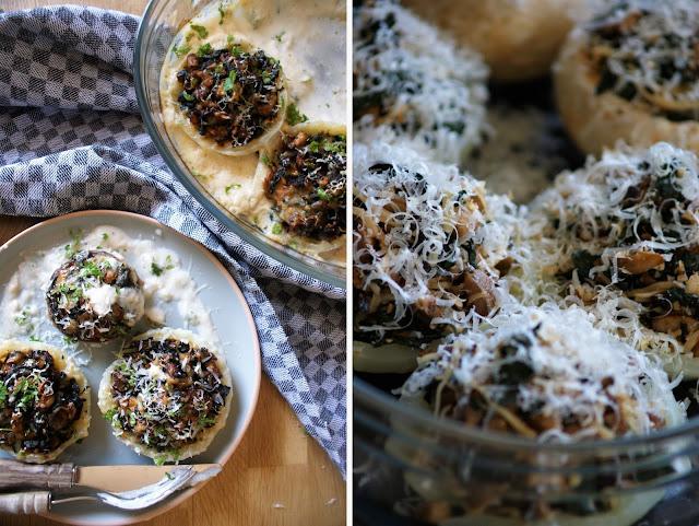 Gefüllte Kohlrabi mit Spinat und Champignons