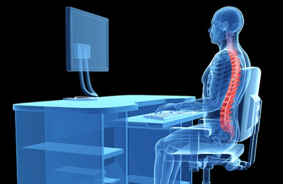 Illustration of Proper Posture at Desk with Ankylosing Spondylitis