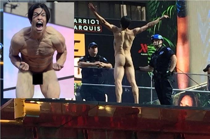 """¿Dónde está Donald Trump?"" vociferaba desnudo modelo internacional en plataforma de Times Square"