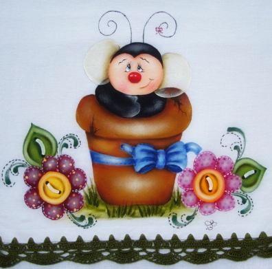 pintura em tecido country folk art pano de prato abelha