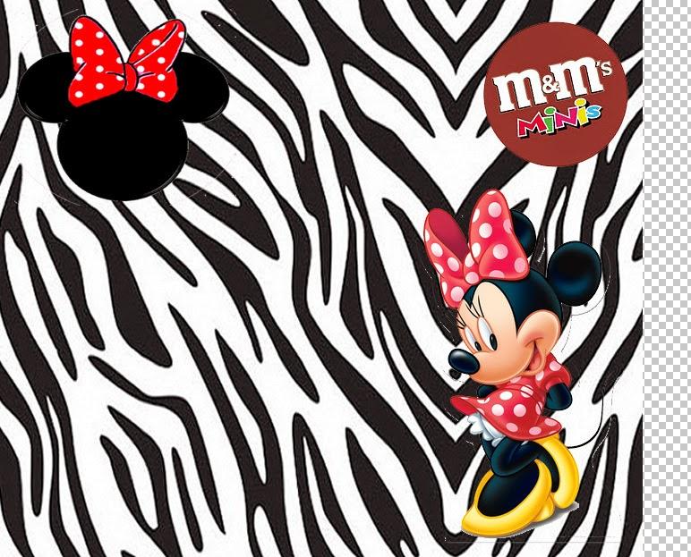 Etiqueta M&M  para Imprimir Gratis de Minnie Cebra y Rojo.