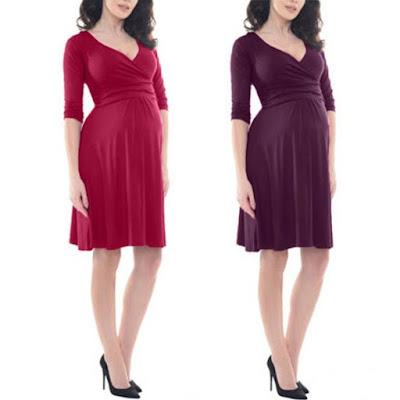 Women's Maternity 3/4 Sleeve V-Neck Formal Pregnancy Dress