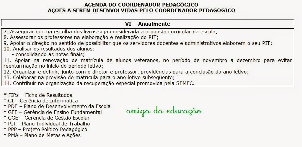 Modelo De Agenda Do Coordenador Pedagógico Só Escola