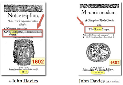 "at Shakespeares times there existed two high level contemporaneous poets who publieshed with    the same name ""John Davies!"", in  the same year ""1602""  , in  the same City in ""London about   the same literary subjectmatter""(the soul) ,  ""   2 masterpieces of philosophical literature    ""NOSCE TE IPSUM"" and ""MIRUM IN MODUM"""