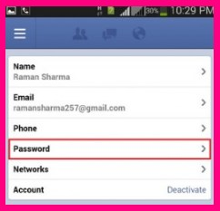 change password facebook mobile app