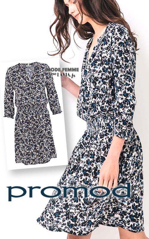 Robe courte manches 3/4 imprimée bleu PROMOD