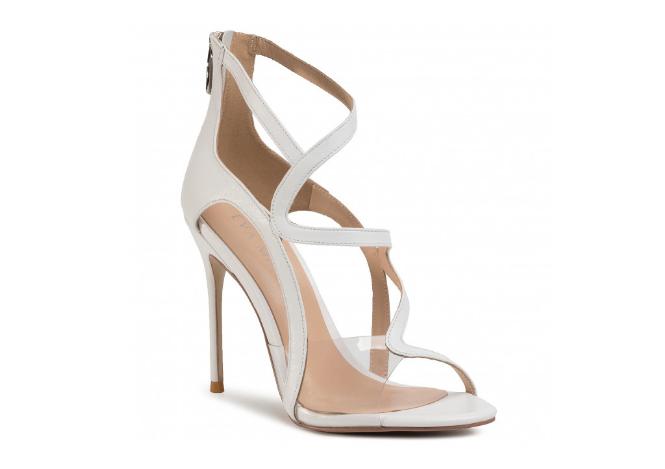 Sandale EVA MINGE albe cu toc elegante din piele