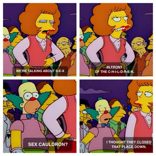 Great quote from Krusty about the sex cauldron