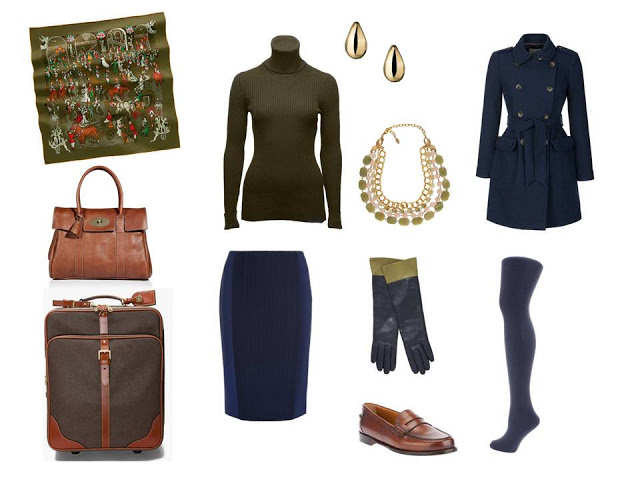 travel outfit in olive and navy for cool weather