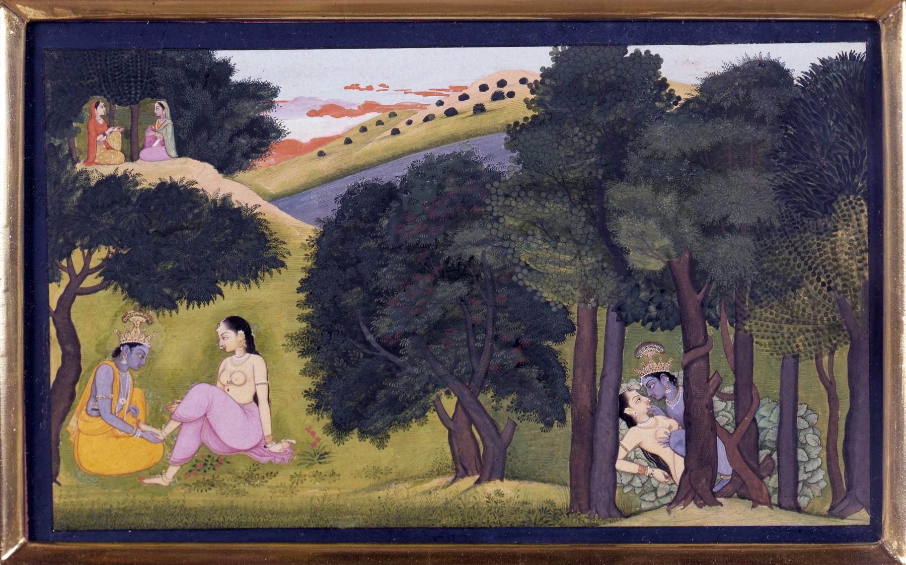 Final Adornment of Radha and Krishna, from a Gita Govinda Series - Kangra Painting, c1780