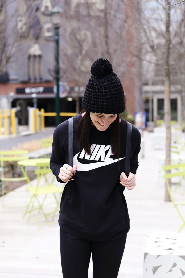 Naturally Me, My Style, Nike Sweatshirt, Black Sweatshirt, Athleisure Outfit, How to Wear Athleisure, Black Leggings, How to Wear Black Leggings, Backpack, Target Beanie, How to Wear a Beanie
