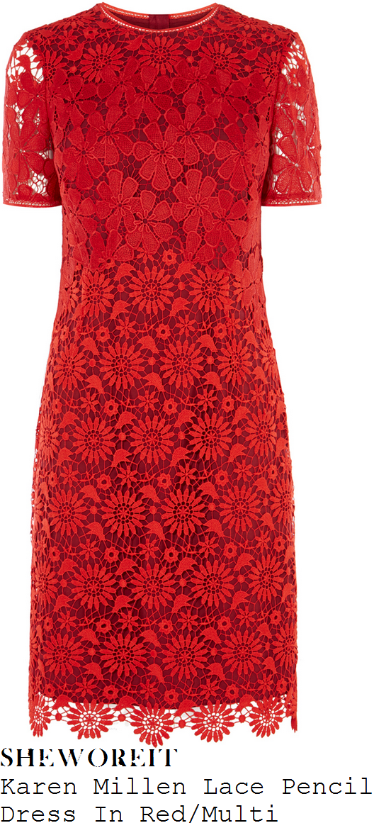 lorraine-kelly-karen-millen-poppy-red-sheer-mixed-floral-lace-overlay-short-sleeve-scalloped-hem-pencil-dress