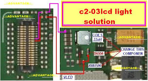 so you can solve nokia c2-03 lcd light problem with jumper ways as  mentioned in the diagram