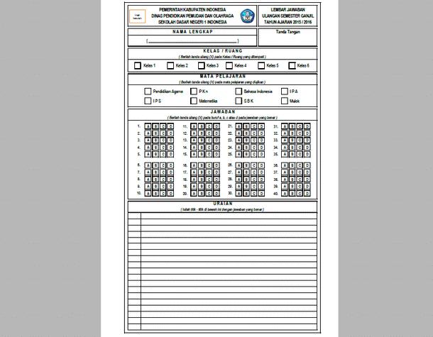 Format Lembar Jawaban Ujian Semester Download File Microsoft Excel