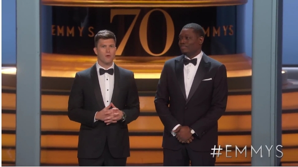 Emmy Awards hosts Michael Che and Colin Jost