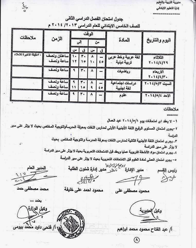 جدوال امتحان الشهادة الابتدائية الترم الثانى 2014 محافظة اسيوط 10245473_64963016175