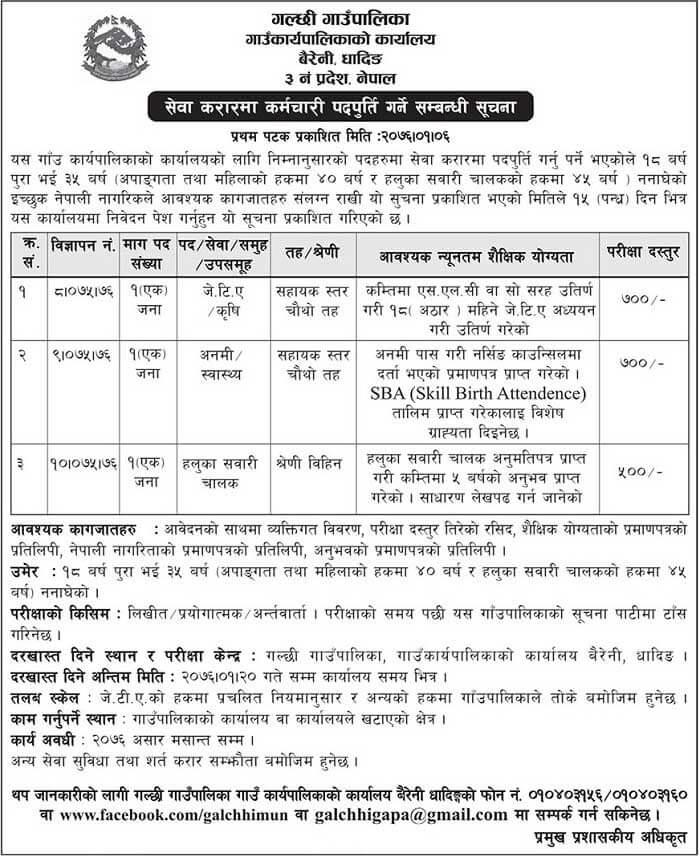 Galchhi Gaunpalika Vacancy Notice