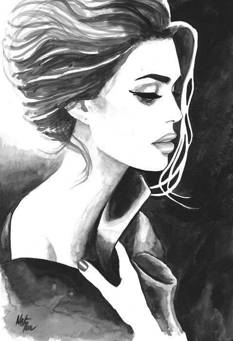 Black And White Girl Paintings