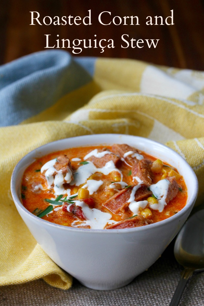 Roasted Corn and Linguiça Stew