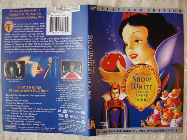 DVD case front and back Snow White and the Seven Dwarfs 1937 animatedfilmreviews.filminspector.com