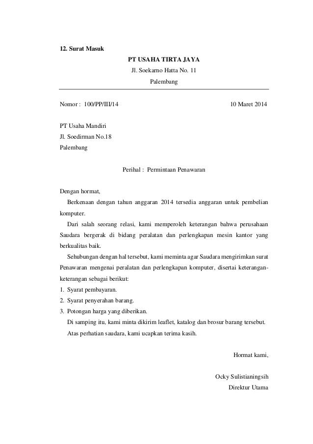 5 Contoh Surat Masuk Yang Baik Dan Benar Kumpulan