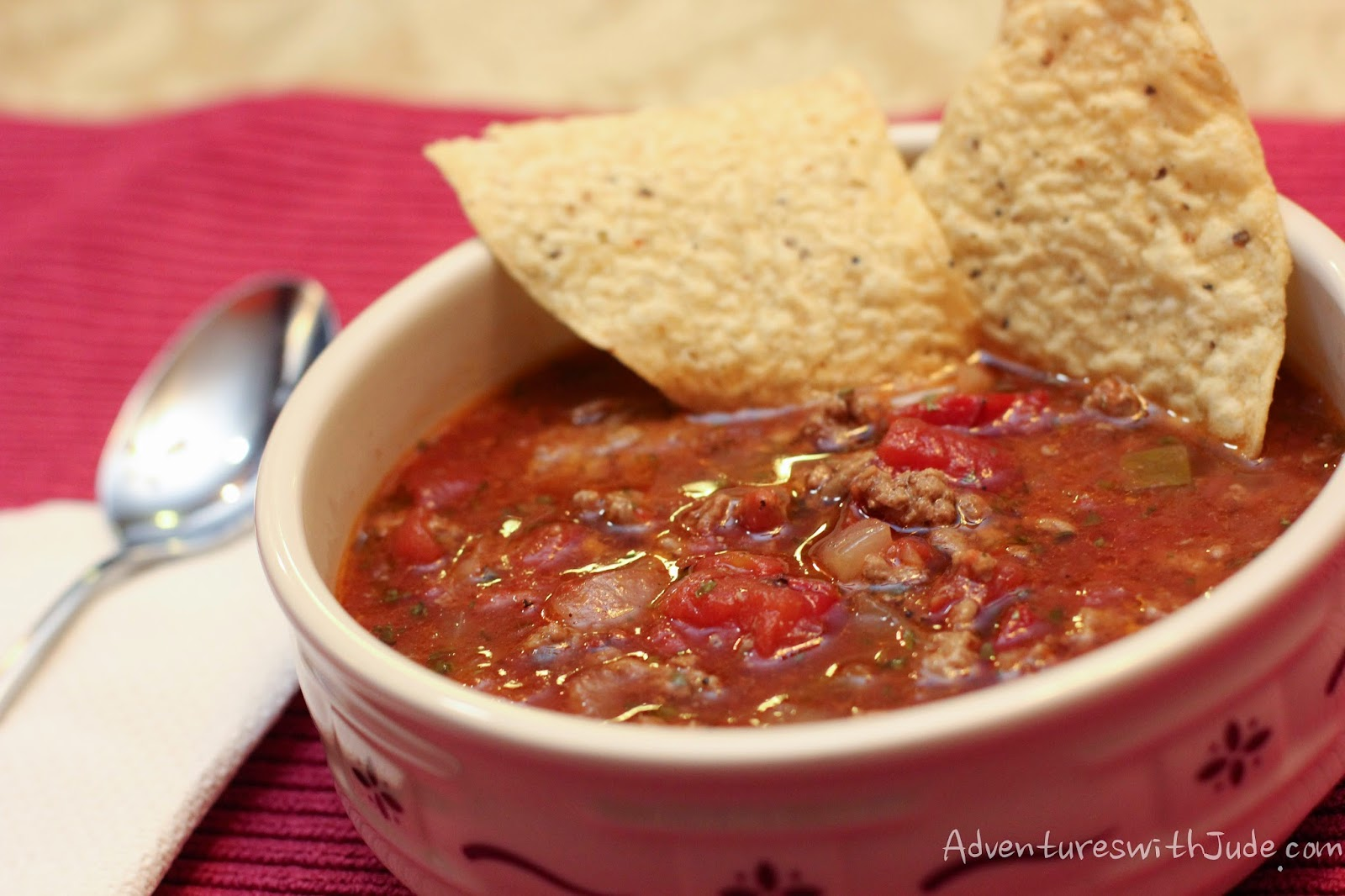serve taco soup with tortilla chips