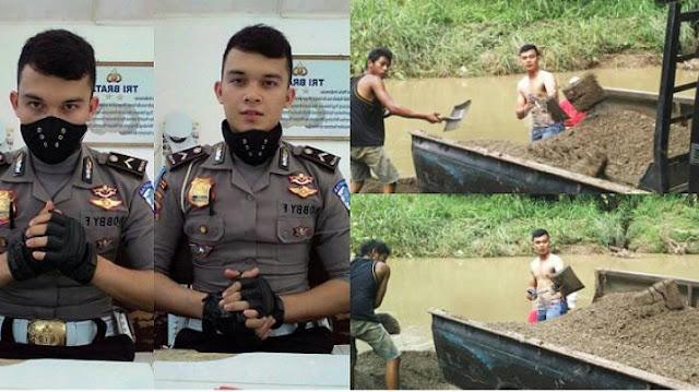 Polisi Ini Akui Jika Dulunya Adalah Kuli Tukang Sengrong Pasir, Banyak Netizen Salut