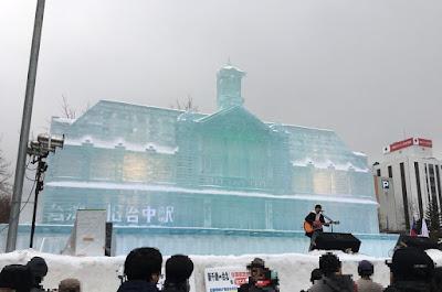 台湾旧台中駅の氷像