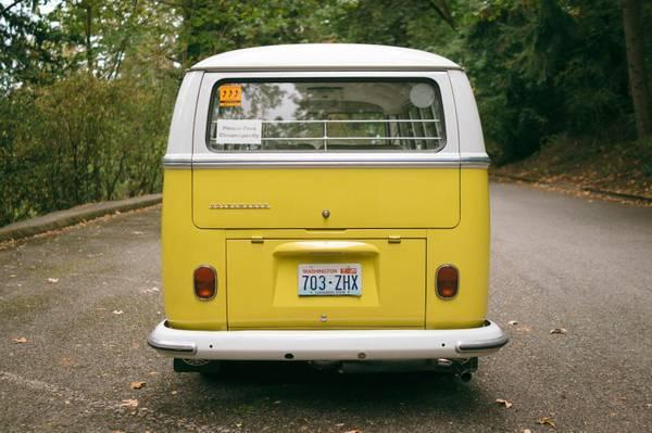 vw bus  window yellow deluxe vw bus
