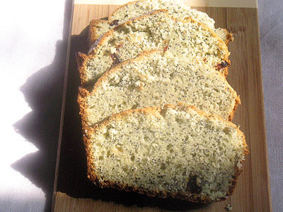poppy seed loaf with cranberries