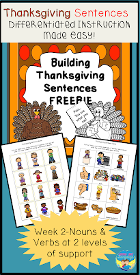 Build Thanksgiving sentences at 2 levels for differentiated instruction! Free from Looks Like Language!