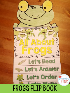 Frogs Flip Book- reading, writing, and comprehension activities for the animal- includes life cycle information