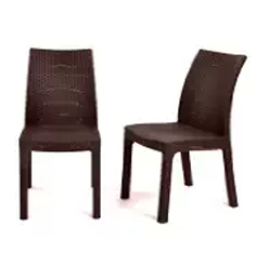 Outdoor Furniture, Wicker Dining Chairs, Wicker Outdoor Furniture, Keter Milan 2 pc Modern All Weather Patio Garden Outdoor Furniture Dining Chairs