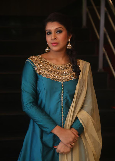 Madhu Shalini in Blue and Cream Anarkali Suit