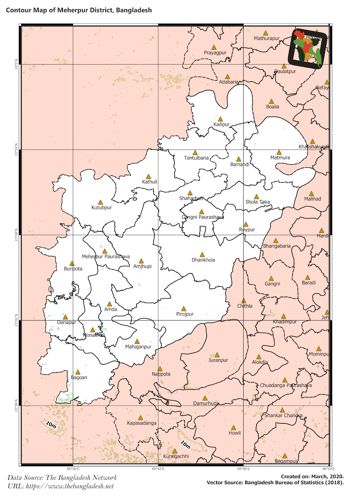 Elevation Map of Meherpur District of Bangladesh