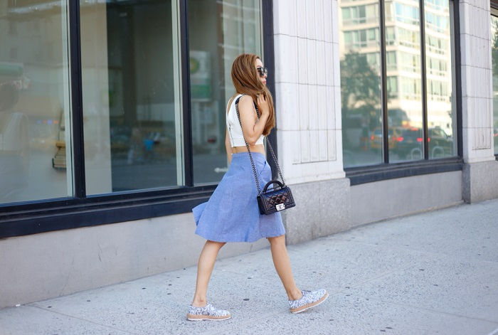 Joie Brinker button front chambray skirt, topshop crop top, chanel boy bag, AGL brogues,AGL Attilio Giusti Leombruni shoes, T and J designs, Karen Walker sunglasses, shopbop sale, clare v sale, fashion blog, street style, nyc