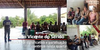 Servidores de São Vicente do Seridó paralisam mesmo sob Assédio moral da Prefeitura