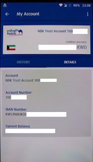 NBK account details/info