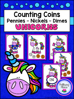 Counting Coins - Pennies, Nickels, and Dimes - Unicorns
