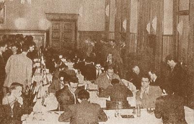 Detalle de la sala donde se disputó el III Campeonato Mundial Universitario de Ajedrez - Uppsala 1956