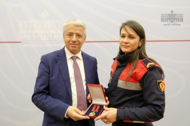 Interior Minister Lleshaj gives the Medal of Honor to Ina Nuka