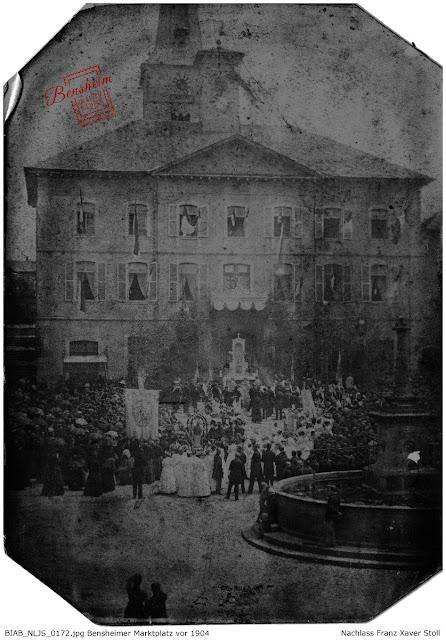 Bensheimer Rathaus vor 1895, Nachlass Franz Xaver Stoll, Bensheim in alten Bildern