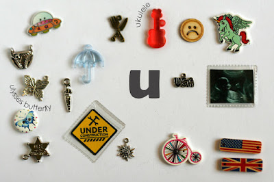 TomToy Individual letter U I spy trinkets for alphabet, Miniature abc objects, Montessori alphabet. Sorting toddler activities
