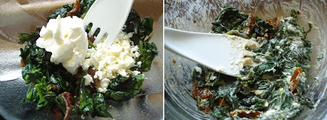 feta and cream cheese with spinach